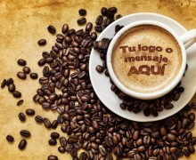 poner un texto corto o logo en la espuma del cafe
